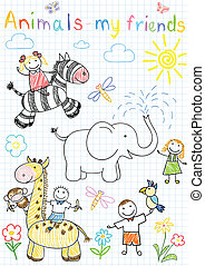 Vector sketches happy children's and animals. Sketch on notebook page