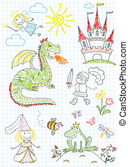 Vector sketches with characters of fairy-tales - Vector...