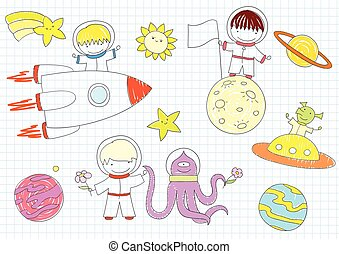 Vector sketches with happy boys and aliens