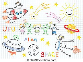Vector sketches with happy children's