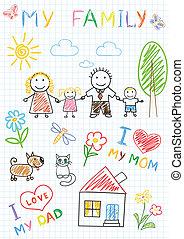 Vector sketchs - happy family