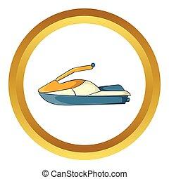 vector, ski, straalvliegtuig, pictogram