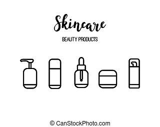vector, skincare, producten, schoonheidsmiddelen, beauty, routine, lijnen kunst, iconen