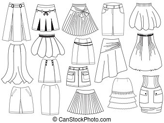 Vector skirts for woman fashion on white