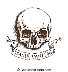 Vector skull and banner
