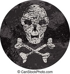 vector skull badge with grunge text
