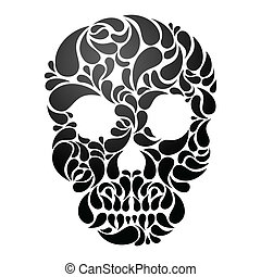 Black Skull isolated on white background. EPS 8 vector illustration.