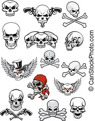 Vector skull characters with crossbones - Skull characters...