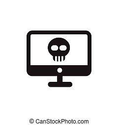 vector skull danger on desktop sign