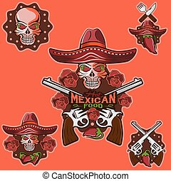 vector skull in a Mexican sombrero with chili peppers, flowers and guns