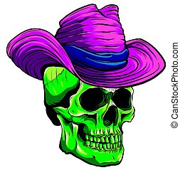 Vector skull pimp with hat illustration on white background