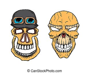 vector skull set - Set of vector skull and army helmet with...
