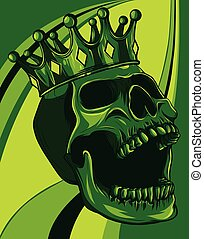vector skull with crown on colored background