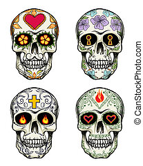 Skulls with flowers - Vector Skulls with flowers for Day of...