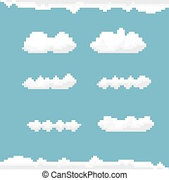 vector sky with clouds pixel art background.