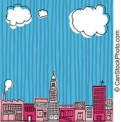 Vector Skyline hand drawn / Cartoon city or Neighborhood