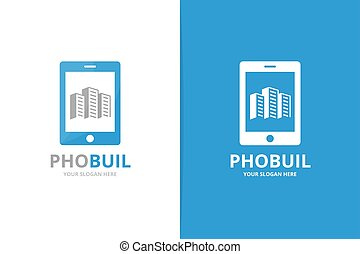 Vector skyscraper and phone logo combination. House and mobile symbol or icon. Unique real estate and device logotype design template.