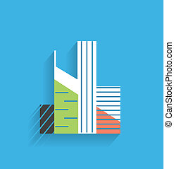 Vector skyscraper icon modern flat design