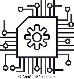 vector, slagen, intelligentie, editable, illustratie, plan, meldingsbord, achtergrond, pictogram, lijn