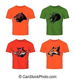 vector, slang, furieus, vrijstaand, set, vos, logo, witte , beer, sportende, beer, concept, achtergrond.