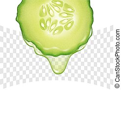 Vector slice of cucumber with a transparent dripping drop of juice. Isolated on white background. Element for design, advertising, brochure, flyer.