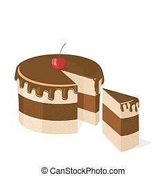 Vector sliced chocolate cake with delicious cherry for birthday, wedding, etc.