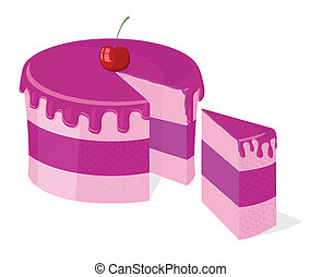 Vector sliced pink cake