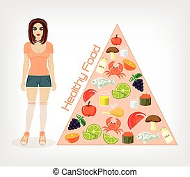Vector slim girl flat illustration