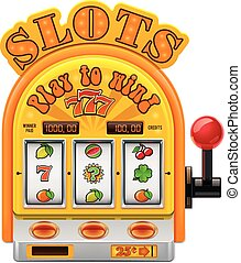 Detailed vector icon representing slot machine with three reels