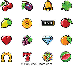 Vector slot machine symbols set - Set of the typical vector...