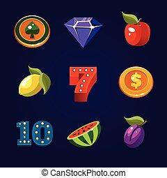 Various slot machine icons vector set