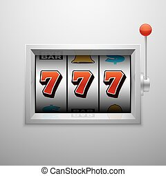Vector slot machine with lucky seven casino jackpot win