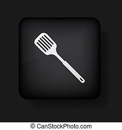 Vector slotted kitchen spoon icon on black. Eps 10