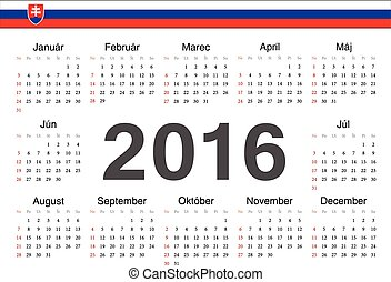Vector Slovak circle calendar 2016. Week starts from Sunday.