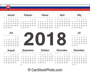 Vector Slovak circle calendar 2018