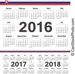 Vector Slovak circle calendars 2016, 2017, 2018. Week starts from Sunday.