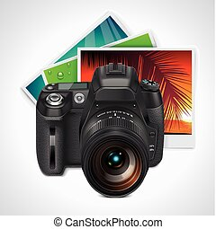 Vector SLR camera and photos - Detailed icon representing ...