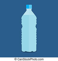 Vector small bottle of pure water on a blue background