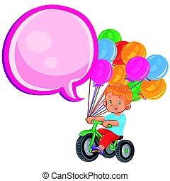 Vector small boy ride tricycle with balloons - Vector...