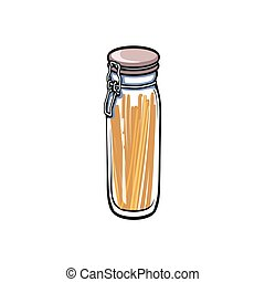 vector small glass jar with swing top lid sketch - vector...