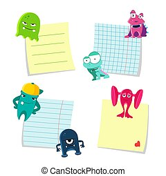 Vector small notes with shadows set kept by cute monsters isolated on white background