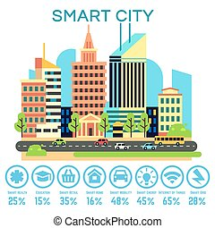 Vector smart city concept with business technology icons