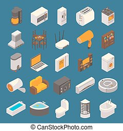 Vector smart home flat 3d isometric icon set
