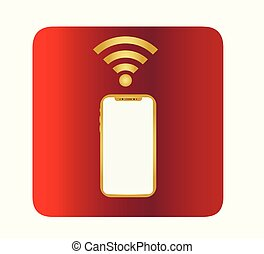 Vector smartphone and wi-fi symbol - wireless network.