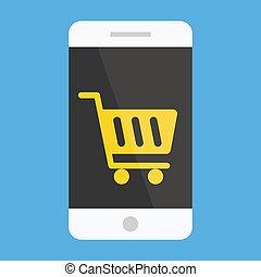 Vector Smartphone Buy Online Icon Ecommerce Concept