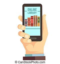 vector, smartphone, e-reading, boekjes , bibliotheek, hand, concept, vasthouden, online onderwijs