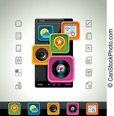 vector, smartphone, icono