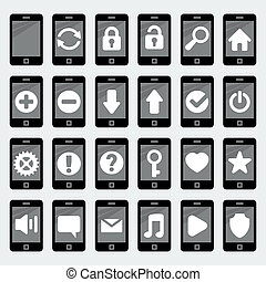 Vector smartphone icons in 'flat' style