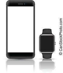 Smartphone and smart watch vector realistic object. Mockups smart object vector.