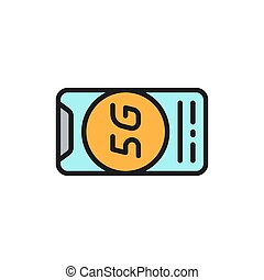 Vector smartphone with 5G internet flat color line icon.